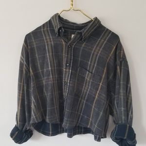 Distressed plaid button down
